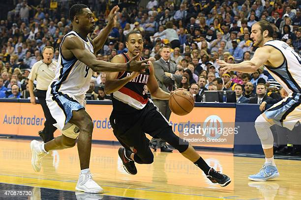 J McCollum of the Portland Trailblazers plays against the Memphis Grizzlies during Game Two of the first round of the NBA Playoffs at FedExForum on...