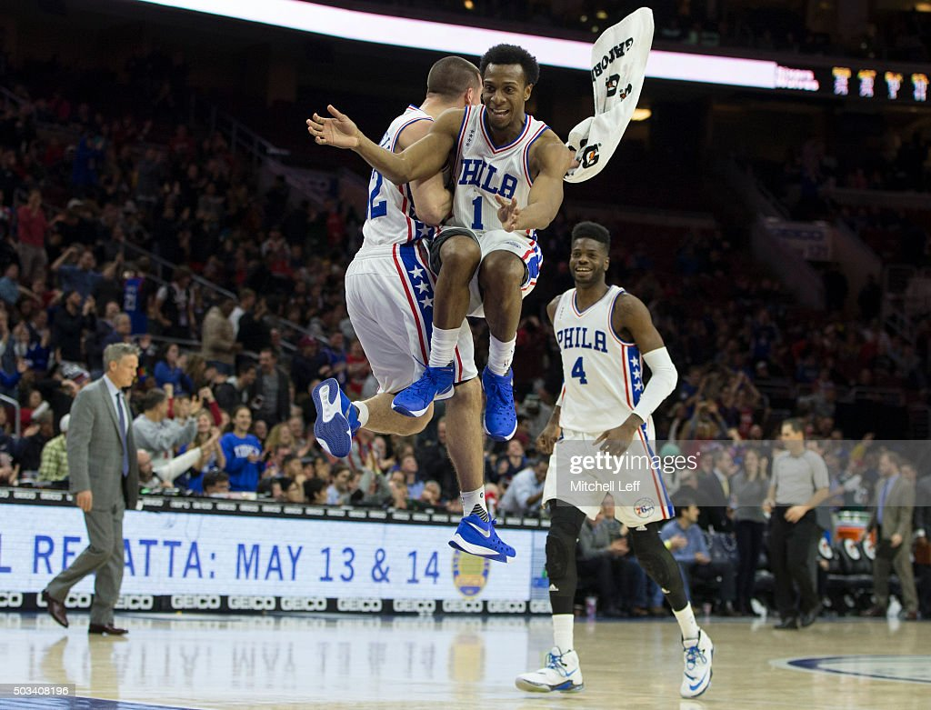 T.J. McConnell #12, Ish Smith #1, and Nerlens Noel #4 of the Philadelphia 76ers react after a timeout in the game against the Minnesota Timberwolves on January 4, 2016 at the Wells Fargo Center in Philadelphia, Pennsylvania. The 76ers defeated the Timberwolves 109-99.
