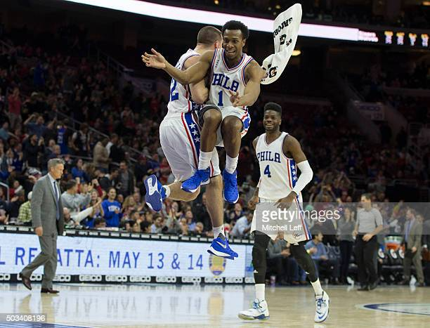J McConnell Ish Smith and Nerlens Noel of the Philadelphia 76ers react after a timeout in the game against the Minnesota Timberwolves on January 4...