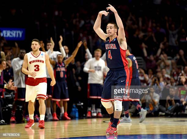 J McConnell of the Arizona Wildcats reacts in the first half while taking on the Wisconsin Badgers during the West Regional Final of the 2015 NCAA...