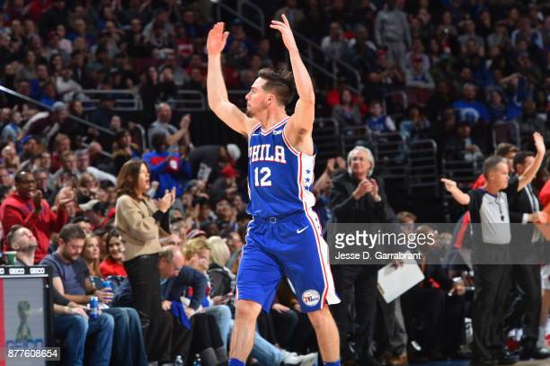 J McConnell of the Philadelphia 76ers gets the crowd fired up gainst the Portland Trail Blazers at Wells Fargo Center on November 22 2017 in...