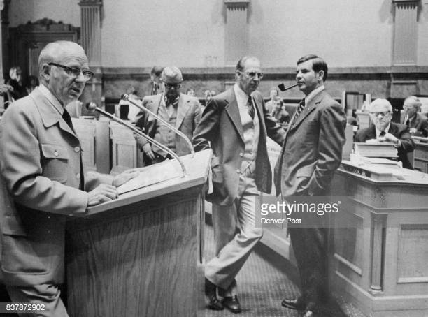 McCORMICK RCANON CITY SPEAKS DURING DEBATE ON SWEEPSTAKES Waiting at rear from left are Sens Joe Schieffelin RLakewood Dan Noble RNorwood Dick Plock...