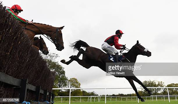 McCoy and Druid's Nephew on their way to victory in the ERS Medical Handicap Chase at Huntingdon Racecourse on October 14 2014 in Huntingdon England