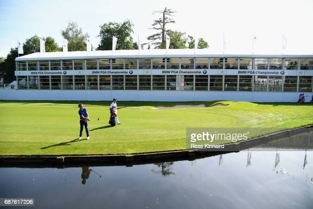 McCoy hits an approach on the 18th hole during the BMW PGA Championship ProAm at Wentworth on May 24 2017 in Virginia Water England