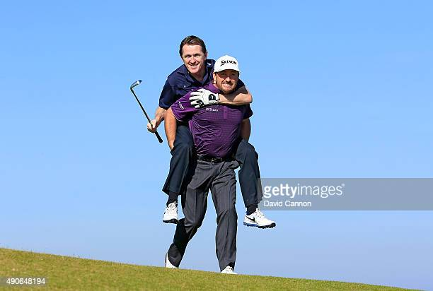 McCoy of Northern Ireland the former National Hunt Champion Jockey is given a ride by Graeme McDowell of Northern Ireland his playing partner for the...