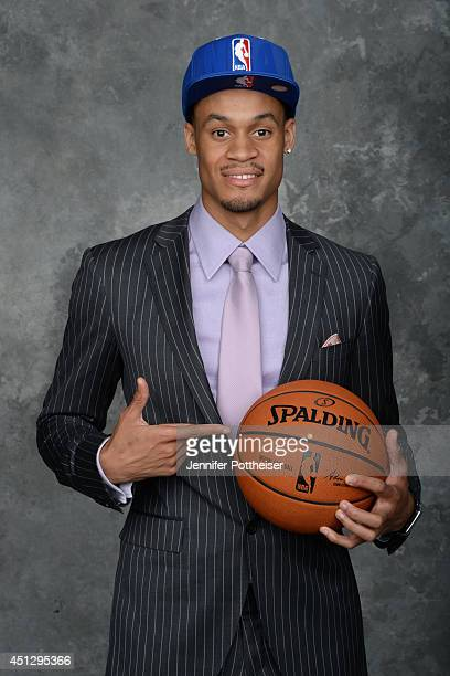 J McDaniels the 32nd pick overall by the Philadelphia 76ers poses for a portrait during the 2014 NBA Draft at the Barclays Center on June 26 2014 in...