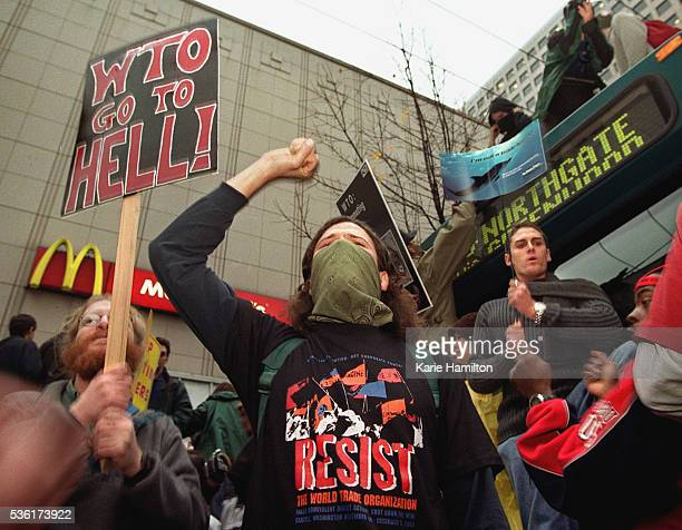 McDonalds are targeted by French antiglobalization demonstrators
