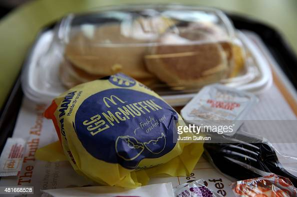 McDonald's 'Big Breakfast' and Egg McMuffin are displayed at a McDonald's restaurant on July 23 2015 in Fairfield California McDonald's has been...