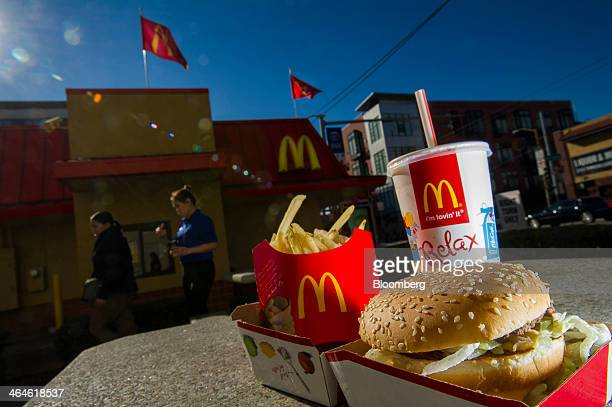 A McDonald's Corp Big Mac meal is arranged for a photograph outside of a restaurant in San Francisco California US on Wednesday Jan 22 2014...