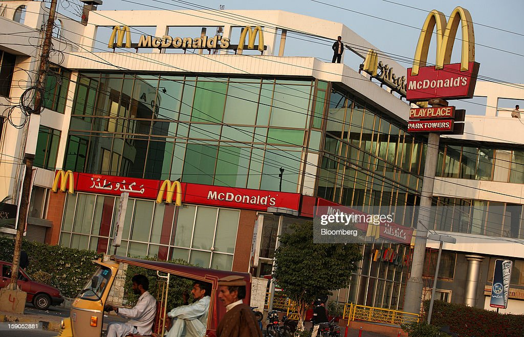 A McDonald's Corp. outlet stands in Karachi, Pakistan, on Saturday, Jan. 5, 2013. Fatburger opened its first outlet in Pakistan to the public on Jan. 5. Photographer: Asim Hafeez/Bloomberg via Getty Images