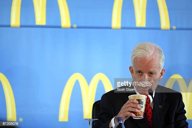 McDonald's Corporation NonExecutive Chairman of the Board Andrew J McKenna attends a press conference following the company's annual shareholders...