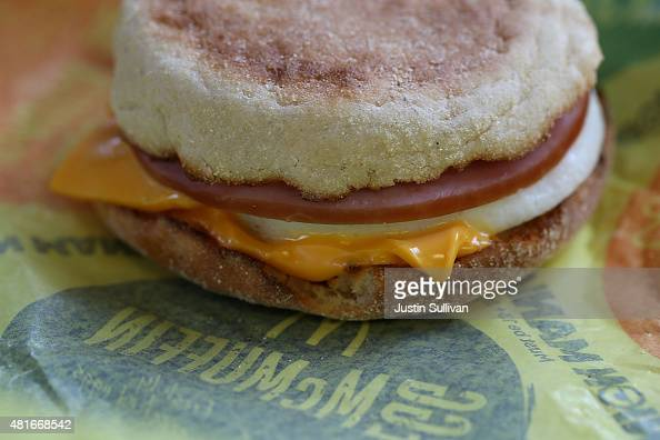 McDonald's Egg McMuffin is displayed at a McDonald's restaurant on July 23 2015 in Fairfield California McDonald's has been testing allday breakfast...