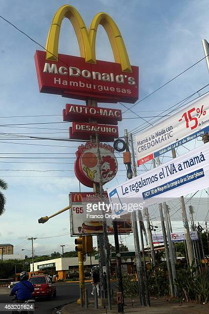 McDonald's fast food in Managua on May 31 2014 in Managua Nicaragua Managua has suffered devastating earthquakes in 1931 and 1972 with the latter...