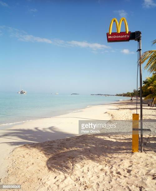 McDonald's fast food restaurant sign on Negril beach