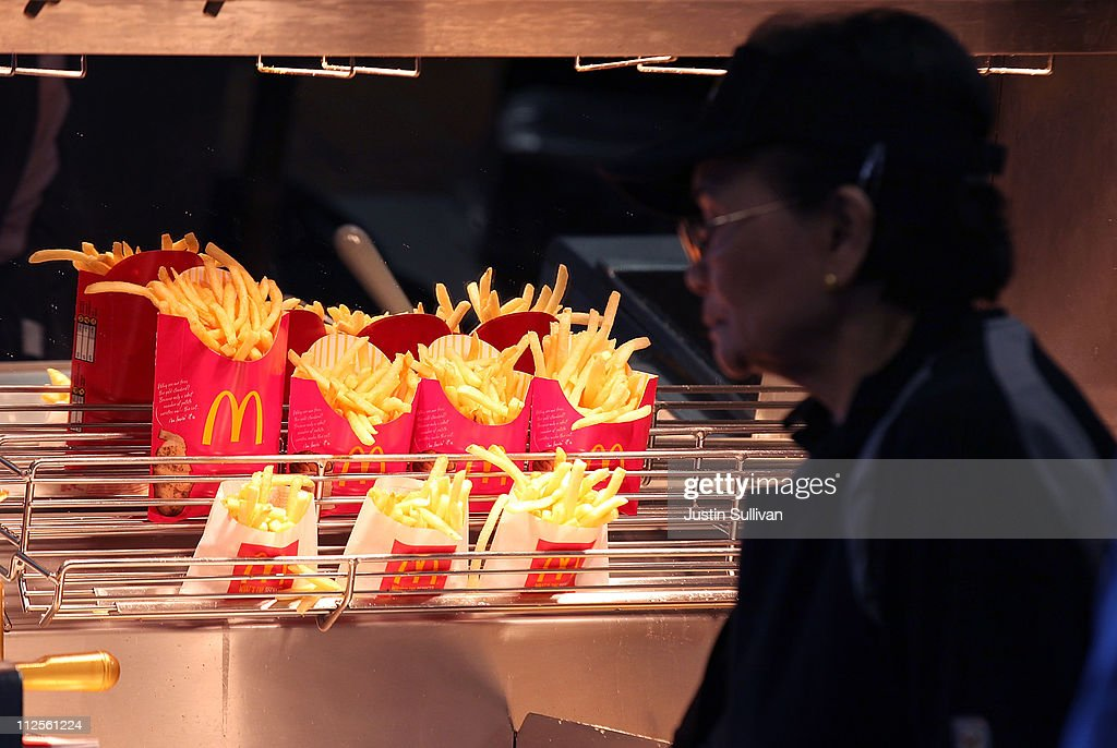 McDonald's french fries sit under a heat lamp during a oneday hiring event at a McDonald's restaurant on April 19 2011 in San Francisco California...