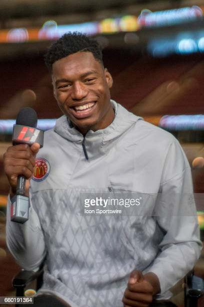 McDonald's High School AllAmerican center Brandon L McCoy gives interviews to the media during the McDonald's AllAmerican Games Media Day on March 28...