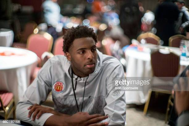 McDonald's High School AllAmerican center Mitchell Robinson gives interviews to the media during the McDonald's AllAmerican Games Media Day on March...