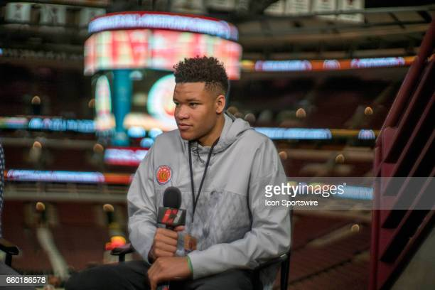 McDonald's High School AllAmerican forward Kevin Knox II gives interviews to the media during the McDonald's AllAmerican Games Media Day on March 28...