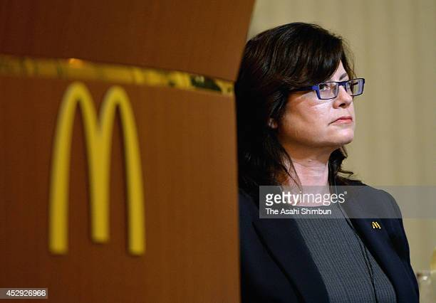 McDonald's Holdings Co Japan CEO Sarah Casanova speaks during a press conference on July 29 2014 in Tokyo Japan