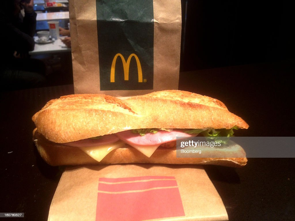 A McDonald's McBaguette is shown in Paris, France, on Monday, Jan. 14, 2013. The cheese and ham is topped with lettuce and mayonnaise. Photographer: Richard Vines/Bloomberg via Getty Images