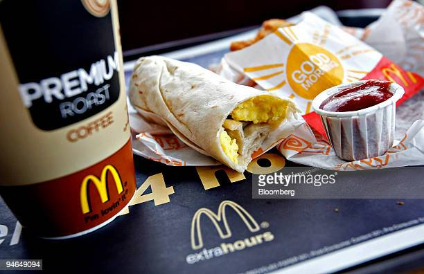 McDonald's Premium Roast coffee sausage breakfast burrito and hash browns are arranged for a photo in a McDonald's restaurant in Hillside New Jersey...