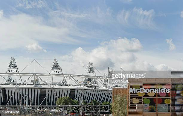 A McDonald's restaurant is pictured next to the main London 2012 Olympic Stadium in the Olympic Park in east London on July 12 2012 The 2012 Olympic...