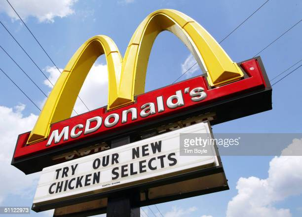 McDonald's sign promotes new Chicken Selects stands near a store July 28 2004 in Niles Illinois McDonald's has introduced new Chicken Selects premium...