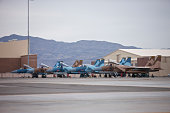 McDonnell Douglas F-15C Eagles of the 57th Adversary Tactics Group at Nellis Air Force Base, Nevada.