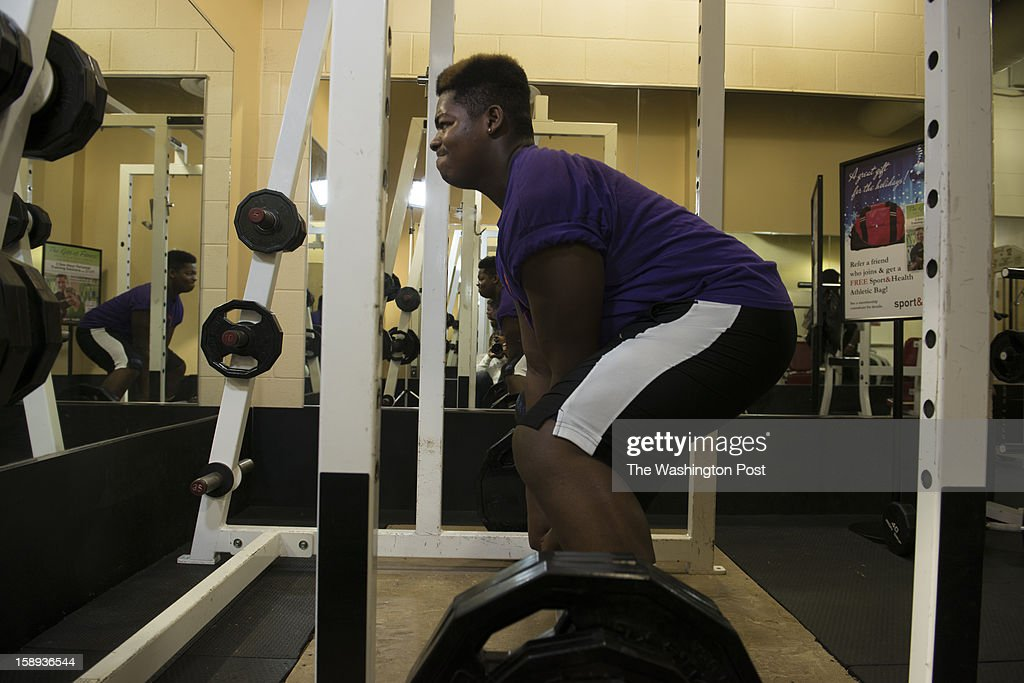 McDonough High School football player Na'Ty Rodgers performing heavy deadlifts at the Sport & Health Club in Waldorf, Maryland on December 20, 2012. McDonough's Na'Ty Rodgers isn't your average college football recruit. He's taking his time and being patient in making a college decision in an era in which plenty of athletes commit early, only to regret the rushed decision.