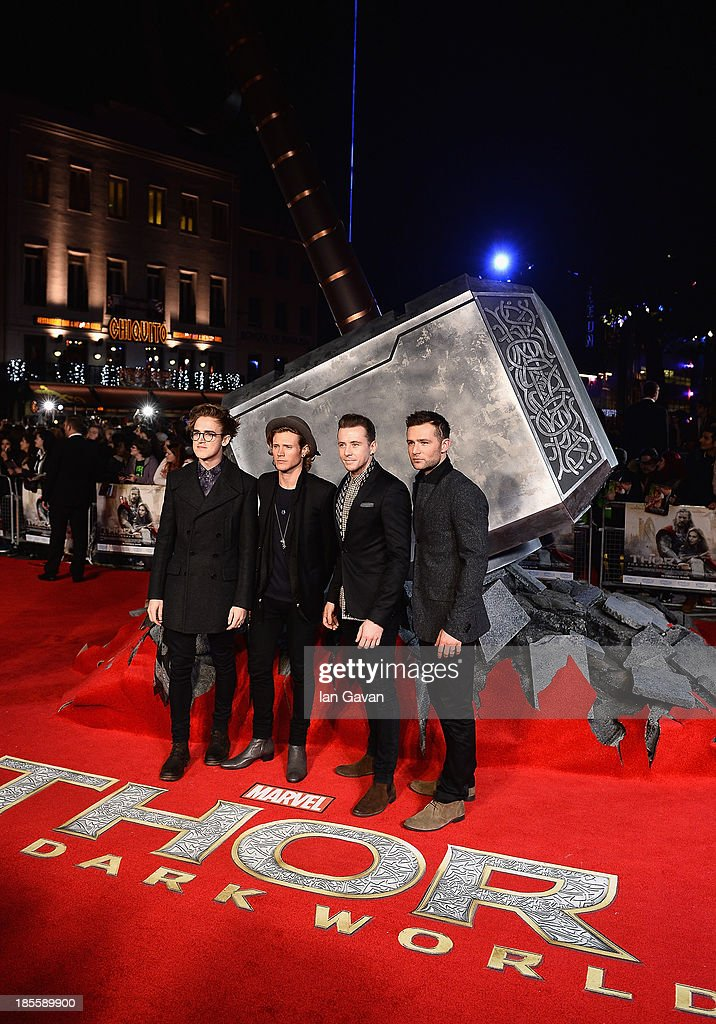 McFly attends the World Premiere of 'Thor: The Dark World' at Odeon Leicester Square on October 22, 2013 in London, England.