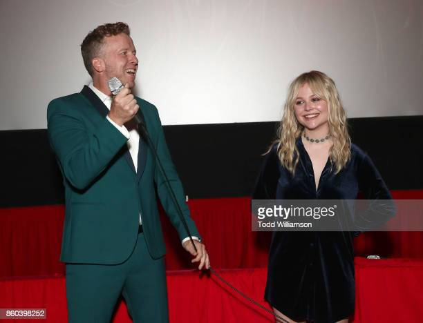 McG and Emily Alyn Lind attend the Los Angeles Premiere of 'The Babysitter' on October 11 2017 in Los Angeles California