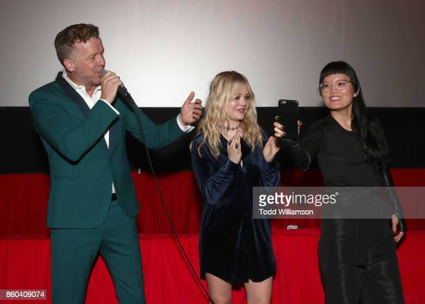 McG Emily Alyn Lind and Hana Mae Lee attend the Los Angeles Premiere of 'The Babysitter' on October 11 2017 in Los Angeles California