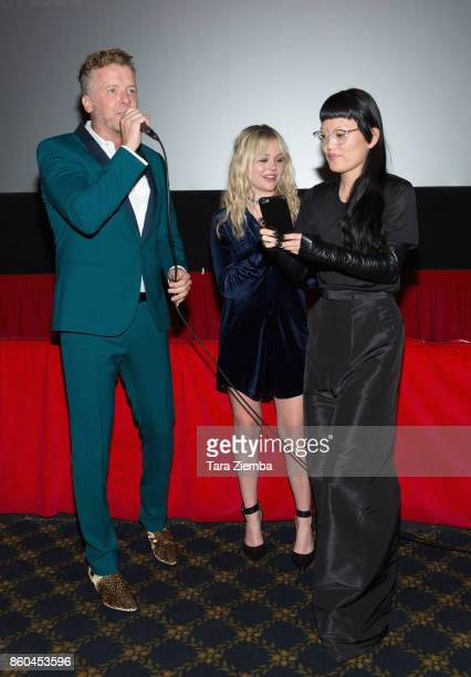 McG Emily Alyn Lind and Hana Mae Lee attend the premiere of Netflix's 'The Babysitter' at the Vista Theatre on October 11 2017 in Los Angeles...