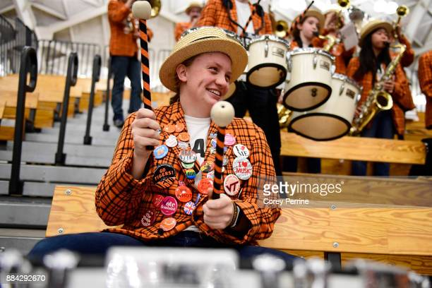 McGinnis Miller of Endwell New York plays the bass drum as the Princeton Tigers host the Lehigh Mountain Hawks between halves at L Stockwell Jadwin...