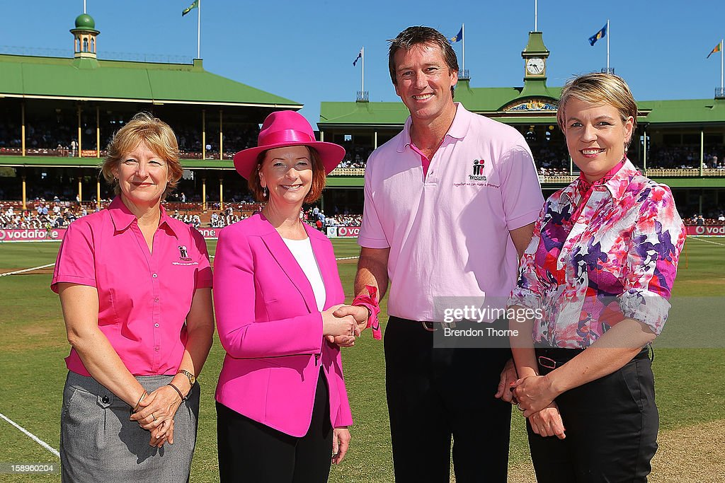 McGrath breast care nurse, Elaine Arnold, Australian Prime Minister, Julia Gillard, former Australian Test crickter, Glenn McGrath and Minister for Health, Tanya Plibersek pose prior to day two of the Third Test match between Australia and Sri Lanka at Sydney Cricket Ground on January 4, 2013 in Sydney, Australia. The Australian Government has committed a further $18.5 millon to the McGrath Foundation's specialist breast care nurses.