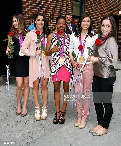 McKayla Maroney Aly Raisman Gabby Douglas Kyla Ross and Jordyn Wieber leave 'The Late Show with David Letterman' at Ed Sullivan Theater on August 14...
