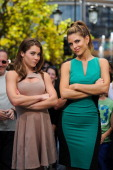 Mckayla Maroney and Maria Menounos visit 'Extra' at The Grove on August 27 2012 in Los Angeles California