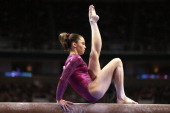 McKayla Maroney competes on the balance beam during day 4 of the 2012 US Olympic Gymnastics Team Trials at HP Pavilion on July 1 2012 in San Jose...