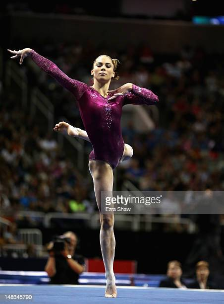 McKayla Maroney competes on the floor exercise during day 4 of the 2012 US Olympic Gymnastics Team Trials at HP Pavilion on July 1 2012 in San Jose...