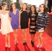McKayla Maroney Jordyn Wieber Kyla Ross Gabby Douglas and Alexandra Raisman arrive at the 2012 MTV Video Music Awards at Staples Center on September...