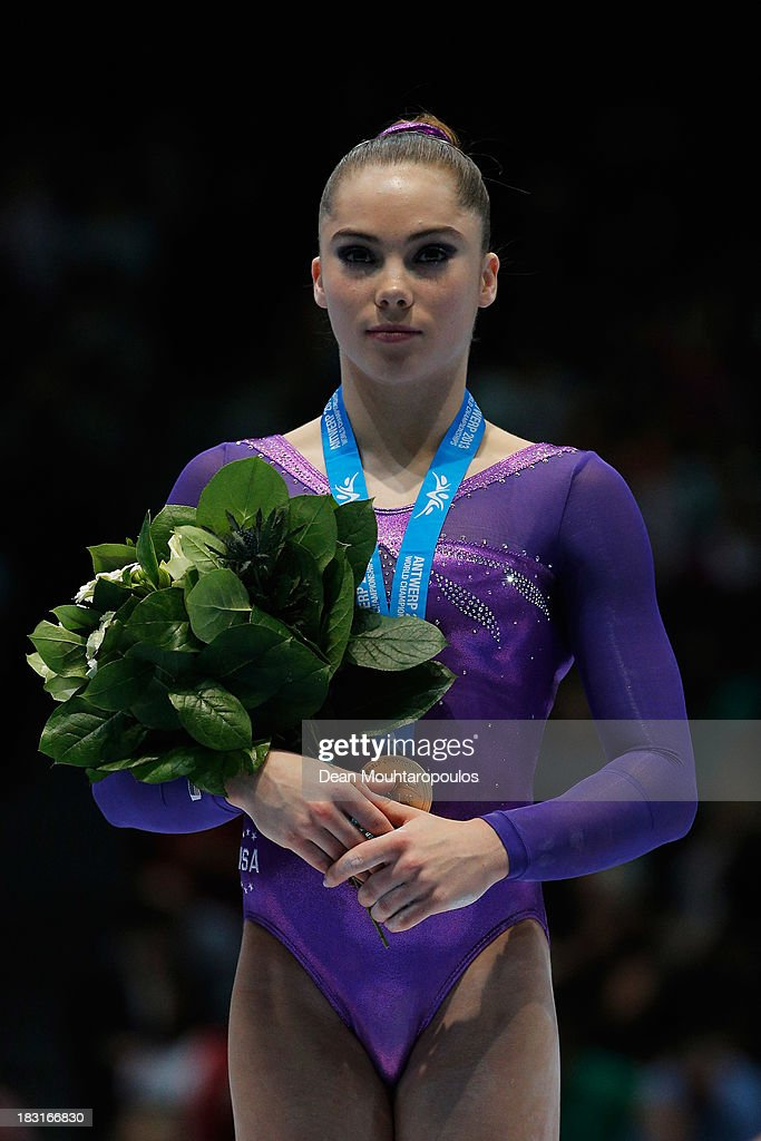 <a gi-track='captionPersonalityLinkClicked' href=/galleries/search?phrase=McKayla+Maroney&family=editorial&specificpeople=7138673 ng-click='$event.stopPropagation()'>McKayla Maroney</a> of USA poses after winning the Gold medal in the Vault Final on Day Six of the Artistic Gymnastics World Championships Belgium 2013 held at the Antwerp Sports Palace on October 5, 2013 in Antwerpen, Belgium.