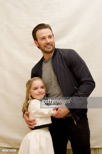 Mckenna Grace and Chris Evans at the 'Gifted' Press Conference at the Four Seasons Hotel on March 31 2017 in Beverly Hills California