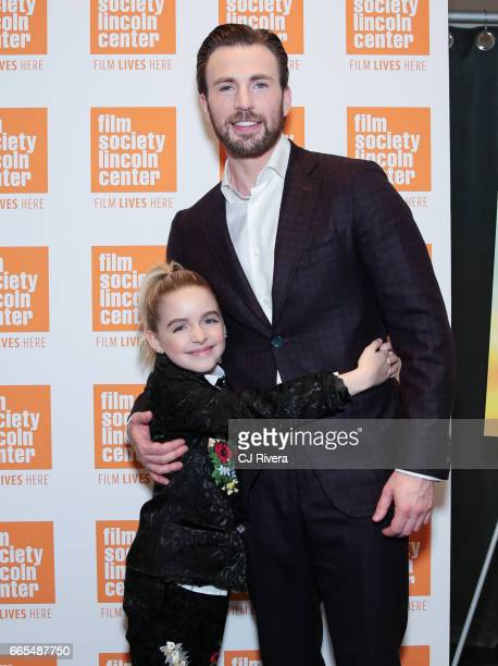 McKenna Grace and Chris Evans attend the New York premiere of the film 'Gifted' at the New York Institute of Technology on April 6 2017 in New York...