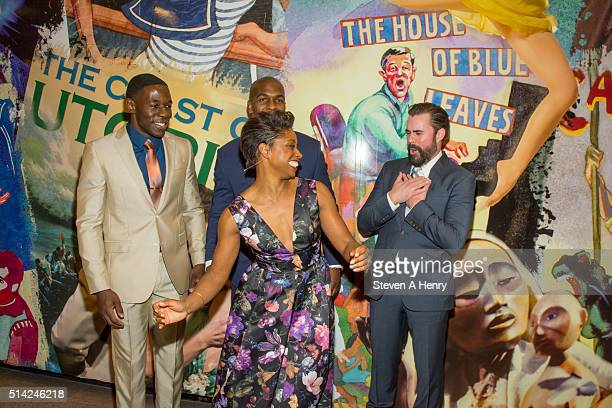 McKinley Belcher III Khris Davis John Lavelle and Montego Glover attends 'The Royale' Opening Night at Mitzi E Newhouse Theater Lobby on March 7 2016...