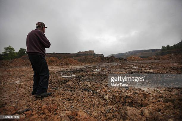 McKinley Sumner views surface coal mining operations near his home in the Appalachian Mountains on April 18 2012 in Montgomery Creek Kentucky Sumner...