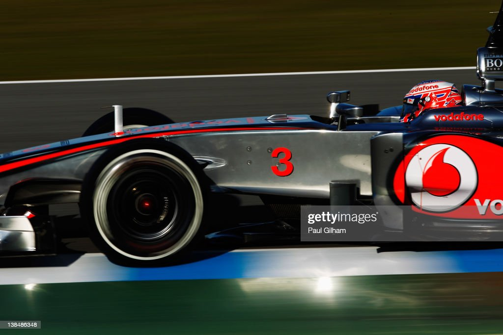McLaren driver <a gi-track='captionPersonalityLinkClicked' href=/galleries/search?phrase=Jenson+Button&family=editorial&specificpeople=171505 ng-click='$event.stopPropagation()'>Jenson Button</a> of Great Britain drives the new McLaren Mercedes MP-27 during Formula One winter testing at the Circuito de Jerez on February 7, 2012 in Jerez de la Frontera, Spain.