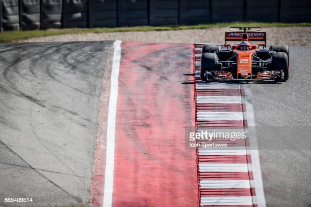 McLaren driver Stoffel Vandoorne of Belgium drives through turn 1 during the Formula 1 United States Grand Prix on October 22 at the Circuit of the...