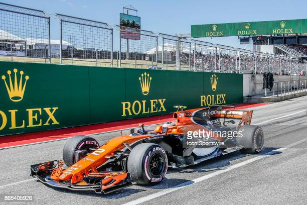 McLaren driver Stoffel Vandoorne of Belgium leaves pit lane prior to the Formula 1 United States Grand Prix on October 22 at the Circuit of the...