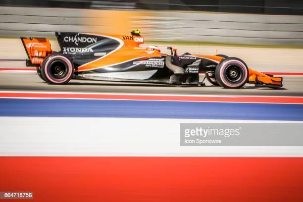 McLaren driver Stoffel Vandoorne of Belgium races through turn 5 during morning practice for the Formula 1 United States Grand Prix on October 21 at...