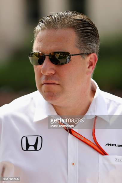 McLaren Executive Director Zak Brown in the Paddock during final practice for the Bahrain Formula One Grand Prix at Bahrain International Circuit on...